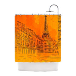 "Kess InHouse - Fotios Pavlopoulos ""Parisian Sunsets"" Orange City Shower Curtain - Finally waterproof artwork for the bathroom, otherwise known as our limited edition Kess InHouse shower curtain. This shower curtain is so artistic and inventive, you'd better get used to dropping the soap. We're so lucky to have so many wonderful artists that you'll probably want to order more than one and switch them every season. You're sure to impress your guests with your bathroom gallery in addition to your loveable shower singing."