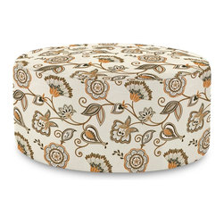 Howard Elliott - Avignon  Universal 36 Round Ottoman - The Universal 36 Round in Avignon is a great addition to any room. A traditional pattern in an updated color story. Their simple design makes them great to use as side tables, ottomans, alternate seating and more.