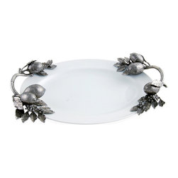 """Lemon Branch Stoneware Tray - 18"""" - A tray that serves up the unique and enlivens your table setting. With its hand-crafted, luxury grade pewter lemon, leaves, flowers, and fruit, the Lemon Branch Stoneware Tray - 18"""" allows you to serve your guests in a style of charming sophistication. The handles at each end, which allow for ease in carrying, are depicted as lemon tree branches."""