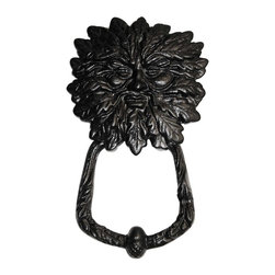 Renovators Supply - Door Knockers Black Cast Iron Door Knocker RSF 7 3/8H x 4 3/4W | 17228 - Door Knocker. Once a sign of their homeowner?s profession- doorknockers now come in a variety of designs & finishes for everyone?s style. Step-up your curb appeal & add value to your home with finishing touches like a knocker. Made of 100% black cast iron with our Exclusive rust-resistant RSF powder coat finish make this knocker a knock out! Easy installation- thread bolts through the door for secure mounting. Mounting hardware included. Measures: 7 3/8 in. H x 4 3/4 in. W.