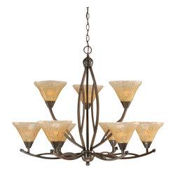 "Toltec - Toltec 279-BC-750 Black Copper Finish 9-Light Uplight Chandelier - Toltec 279-BC-750 Black Copper Finish 9-Light Uplight Chandelier with 7"" Amber Crystal Glass Shade"