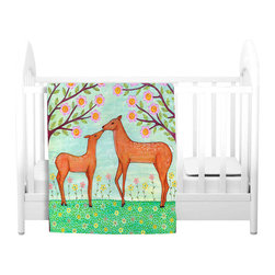 DiaNoche Designs - Throw Blanket Fleece - Woodland Deer - Original Artwork printed to an ultra soft fleece Blanket for a unique look and feel of your living room couch or bedroom space.  DiaNoche Designs uses images from artists all over the world to create Illuminated art, Canvas Art, Sheets, Pillows, Duvets, Blankets and many other items that you can print to.  Every purchase supports an artist!