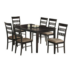 "CBSevilla - 7-Piece Sevilla Collection Designer Style Back Chairs and Dining Table Set - 7-Piece Sevilla collection designer style back chairs and espresso finish wood dining table set and fabric seats. This set includes the table with tapered legs and 6 side chairs upholstered with a fabric seat and designer back. Table measures 36"" x 60"" X 30"" H. Chairs measure 38"" H to the back. Some assembly required."