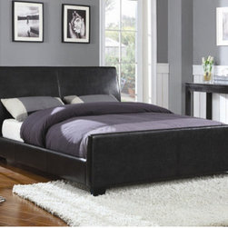 Wildon Home � - Sebec Platform Bed - Add this stunning upholstered bed to your master bedroom for a one-of-a-kind contemporary style that will transform your space. This sleek bed features a high straight headboard and low profile platform style frame, with exposed tapered feet for support. Choose from a rich black or dark brown faux leather upholstered for a luxurious look that you will love. This queen upholstered bed is just the thing to complete your stylish master bedroom ensemble. Features: -Low profile platform.-Upholstered straight headboard.-Size: Queen.-Distressed: No.-Collection: Sebec.Dimensions: -Overall Dimensions: 47.25'' H x 62.75'' W x 86.5'' D.-Overall Product Weight: 132 lbs.