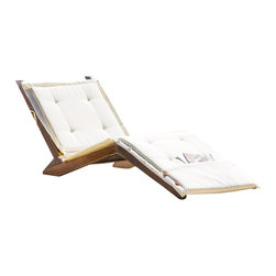 Great Deal Furniture - Midori Mahogany Wood Folding Chaise Lounger Chair w/ Cream Cushion - The Midori Mahogany Wood Folding Lounge Chair makes the perfect lawn or poolside addition. Relax in style with these wooden chaises that fold for easy storage and come complete with a full length cushion to maximize comfort. The bright and fun chaises will have you entertaining and enjoying all that the outdoors have to offer.