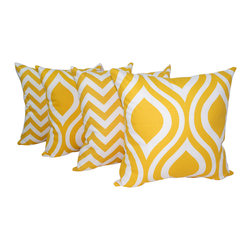 Land of Pillows - Zig Zag Chevron Stripe and Emily Corn Yellow Ogee Throw Pillows - Pack Of 4, 16x - Fabric Designer - Premier Prints