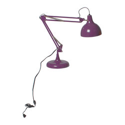 Euro Style - Lalla Lamp - Purple - This is the iconic hero of task lighting. Available in a large variety of colors it has the familiar double rod and spring system for easy adjustment and when you find the perfect spot, it stays put.
