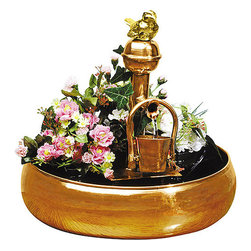 None - Bucket Fountain/ Planter - Accent your interior decor with these terrific water fountains. These fountains include a unique feature: they are fountains and planters, as well. Their hand-crafted display includes solid copper and brass. These fountains display a bird and a pail.