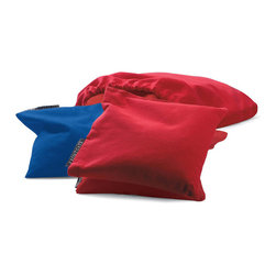 Frontgate - Set of Four Corn Toss Bags - Boards feature folding legs that create storage for eight all-weather red and blue beanbags (included), plus convenient carrying handles. Easy-to-install light kit illuminates the board from underneath for nighttime play. Plugs into any standard outlet. Additional beanbags may be purchased separately. Enjoy a round of corn toss anyplace, day or night, using our portable All-weather Corn Toss Game with light kit. This fun, family game includes two regulation-size target boards made from UV-resistant, rugged molded plastic.  .  .  . .