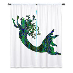 DiaNoche Designs - Window Curtains Unlined by Susie Kunzelman - Mermaid Forest - Purchasing window curtains just got easier and better! Create a designer look to any of your living spaces with our decorative and unique unlined window curtains. Perfect for the living room, dining room or bedroom, these artistic curtains are an easy and inexpensive way to add color and style when decorating your home.  This is a tight woven poly material that filters outside light and creates a privacy barrier.  Each package includes two easy-to-hang, 3 inch diameter pole-pocket curtain panels.  The width listed is the total measurement of the two panels.  Curtain rod sold separately. Easy care, machine wash cold, tumbles dry low, iron low if needed.