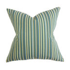 """The Pillow Collection - Dafydd Stripes Pillow Blue - Update your the look of your living space with this stunning decor piece. Liven up your couch, bed or seats with a few of these square pillows. A stripe pattern in alternating shades of blue, green, brown and white is displayed in this throw pillow. Constructed with superior quality, this 18"""" pillow is made with 56% cotton and 44% polyester material. Hidden zipper closure for easy cover removal.  Knife edge finish on all four sides.  Reversible pillow with the same fabric on the back side.  Spot cleaning suggested."""