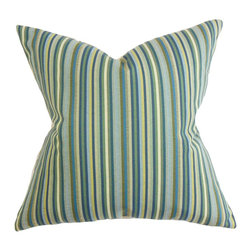 """The Pillow Collection - Dafydd Stripes Pillow Blue 18"""" x 18"""" - Update your the look of your living space with this stunning decor piece. Liven up your couch, bed or seats with a few of these square pillows. A stripe pattern in alternating shades of blue, green, brown and white is displayed in this throw pillow. Constructed with superior quality, this 18"""" pillow is made with 56% cotton and 44% polyester material. Hidden zipper closure for easy cover removal.  Knife edge finish on all four sides.  Reversible pillow with the same fabric on the back side.  Spot cleaning suggested."""