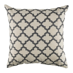 "Ivory and Gray Graphic Design 18"" x 18"" Pillow  Set of 2 - *18"" x 18"" Pillow with Hidden Zipper"