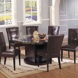 Acme Furniture - Danville Black Round Marble Top Dining Table - 07003 - Danville Collection Dining Table