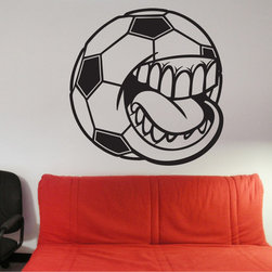 StickONmania - Soccer Ball Mouth Sticker - A cool soccer ball character Decorate your home with original vinyl decals made to order in our shop located in the USA. We only use the best equipment and materials to guarantee the everlasting quality of each vinyl sticker. Our original wall art design stickers are easy to apply on most flat surfaces, including slightly textured walls, windows, mirrors, or any smooth surface. Some wall decals may come in multiple pieces due to the size of the design, different sizes of most of our vinyl stickers are available, please message us for a quote. Interior wall decor stickers come with a MATTE finish that is easier to remove from painted surfaces but Exterior stickers for cars,  bathrooms and refrigerators come with a stickier GLOSSY finish that can also be used for exterior purposes. We DO NOT recommend using glossy finish stickers on walls. All of our Vinyl wall decals are removable but not re-positionable, simply peel and stick, no glue or chemicals needed. Our decals always come with instructions and if you order from Houzz we will always add a small thank you gift.