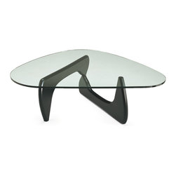 """Matrix International - NOGUCHI Coffee Table Reproduction - This is a very accurate high end reproduction of the iconic coffee table designed by Isamu Noguchi in 1944. The top is 3/4"""" Plate glass and the base is black lacquered Ash. This is not the licensed version of the design but it is not a cheap copy. Made in Italy."""