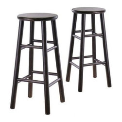 Winsome Trading, INC. - Winsome Bevel Seat Stool - Set Of 2 - Set of 2 solid wood 29bar stools with beveled seat in Espresso finish. Rounded legs are sturdy able to hold up to 200lbs. The beveled seat is contoured for comfort. The stools ship fully assembled