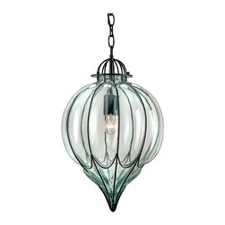 Kathy Kuo Home - Omar Satin Black Blown Glass 1 Light Pendant - A beautiful blown glass pendant. The hand finishing process used on this chandelier lends an air of depth and richness not achieved by less time-consuming methods.
