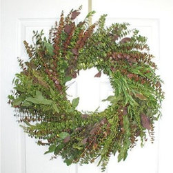 24 in. Blush Eucalyptus Wreath - Enjoy the wonderful aroma of the 24-inch Blush Eucalyptus Wreath as well as its color. This hanging wreath features an appealing mixture of earthy greens and shades of rich plum and burgundy. The base is made with Baby Teardrop Seeded Spiral and Silver Dollar Eucalyptus. It is a generous 24 inches in diameter and is a lovely addition to your entryway door or hallway. A refreshingly fragrant way to welcome guests to your home!This product is designed for indoor use or outdoor use in a protected area. Direct exposure to sunlight and humidity over long periods of time will result in nominal fading. Also be careful when placing your wreath garland or swag over a heat source as high temperatures may result in damage. Follow these easy regulations and you'll have a maintenance-free product that adds plenty of seasonal charm.