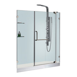 Vigo - 60in.  Frameless Shower Door 3/8in.  Clear Glass Brushed Nickel Hardware with Wh - Experience fine quality combined with superior design in a VIGO frameless shower door with matching 60in.  x 32in.  shower base.