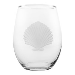 Rolf Glass - Seashell Tumbler, Clear, 15 Oz. - If you have ever found a seashell on a beach, you know the pleasure of such natural perfection. Our scallop shell engraved on lead free crystal-glass turns up the charm on any evening. Reminiscent of longs walks on deserted sand, these classic elegant designs have the power to transport you far away from ordinary.  Made in USA.