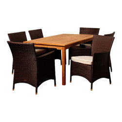Amazonia Teak - Tania 7-piece Teak and Wicker Outdoor Dining Set - The Tania seven-piece outdoor dining set offers great functionality and a stylish design that is sure to update any space. Enjoy your patio in elegance with this alluring patio set featuring a solid teak construction wrapped in weather resistant wicker.