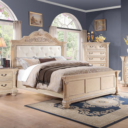 None - Roxbury Cream Pearl Button Tufted Bonded Leather Wood Bed - Lie in the lap of luxury in this majestic masterpiece. Offered in both queen and king sizes,this grand bed features a tufted leather headboard,carved wooden details and bronze hardware.