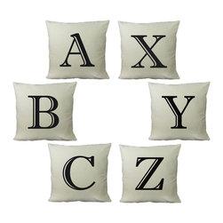 RoomCraft - Customizable Alphabet Throw Pillow Set - 16x16 White - FEATURES: