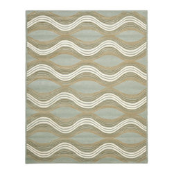 Safavieh - Contemporary Wyndham 8'x10' Rectangle Blue - Multi Color Area Rug - The Wyndham area rug Collection offers an affordable assortment of Contemporary stylings. Wyndham features a blend of natural Blue - Multi Color color. Hand Tufted of Wool the Wyndham Collection is an intriguing compliment to any decor.