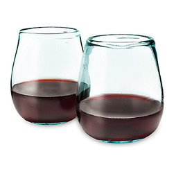 Recycled Wineglasses, Set of 2 - Stemless wineglasses are fun and easy to carry around when mingling with family and friends. I like these because they are made of recycled glass.