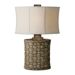 Carolyn Kinder - Carolyn Kinder Cestino Woven Transitional Table Lamp X-1-54462 - Heavily distressed light pecan finish accented with a gray wash. The oval modified drum shade is an oatmeal linen fabric with light slubbing.