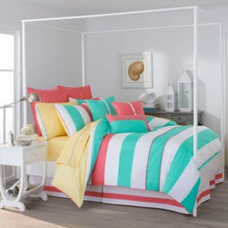 Southern Tide - Southern Tide Cabana Stripe Comforter Set in Off Shore Green - Bring an energetic touch to your bedroom with the Southern Tide Cabana Stripe 4-Piece Comforter Set. Constructed with offshore green and white stripes and a pop of cheerful sunset pink, the comforter will instantly bring happiness into your room.