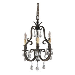 Murray Feiss - Murray Feiss Salon Maison Traditional Mini Chandelier X-STA3/6222F - Slender curves with scroll metal works are featured in an aged tortoise shell finished frame. The Murray Feiss Salon Maison Traditional mini chandelier produces fabulous luminance to any room environment. The warm glow of the chandelier creates a formal and classy atmosphere. The stylish crystal pendants provide a glistening look to the chandelier.