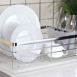 None - Square Stainless Steel Dish Rack - Keep your dishes organized and safe while washing and drying with this square stainless dish rack. This durable dish rack includes a transparent drain board and cutlery cup for easy kitchen upkeep.