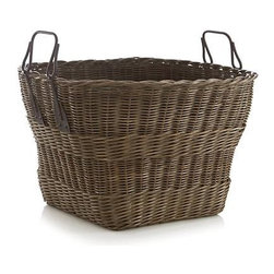 Harbert Basket with Metal Handles - Roomy tapered rattan basket shows off its handwoven craftsmanship as it helps to keep clutter contained. Metal handles add to its rustic charm.