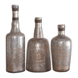 Uttermost - Lamaison Mercury Glass Bottles, Set of 3 - These mottled silver glass bottles look like aged treasures you stumbled upon in an old wine cellar in Provence. Looking authentic, right down to the wound brass wire tops, these shapely silhouettes will look stunning with other vintage treasures on your bookshelf or mantel.