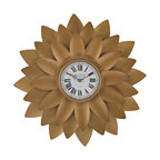 Sterling Lighting - Sterling Lighting Gold Petal Wall Clock - The leaves that form the surround of this clock are formed from metal is hand painted in an up to the minute gold finish and formed to frame the face of this clock/ making it a modern classic