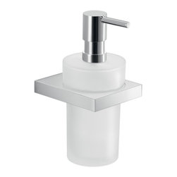 Gedy - Modern Round Wall Mounted Frosted Glass Soap Dispenser - Modern, decorative wall mounted hand soap dispenser.