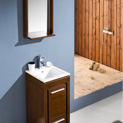 """Allier 16 Modern Bathroom Vanity With Mirror - This Fresca Allier model is one of the smallest free standing vanities available.  This model is accented nicely with a matching mirror with small shelf.  Optional side cabinets are available.  Many faucet styles to choose from.Dimensions of Vanity:  15.75""""W x 15.75""""D x 33.5""""H. Dimensions of Mirror:  16""""W x 31.5""""H x 5""""D. Materials:  Plywood w/ Veneer, Ceramic Countertop/Sink with Overflow. Single Hole Faucet Mount (Faucet Shown In Picture May No Longer Be Available So Please Check Compatible Faucet List). P-trap, Faucet, Pop-Up Drain and Installation Hardware Included"""
