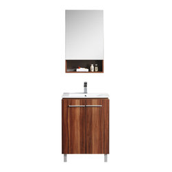 """Fine Fixtures - Fine Fixtures Complete Greenpoint Vanity Collection, Black Walnut, 24"""" - Looking for an affordable set that doesn't look affordable? Then Greenpoint is the collection for you. Beautifully constructed and nicely appointed, it infuses your home with modern styling at a price point that is surprisingly contemporary. Highlights include thin handles of brushed aluminum with matching brushed legs, as well as two highly desirable color choices. There's no skimping on the sink basin either, with a grade AAA vitreous china sink that's super slim and precisely fitted."""
