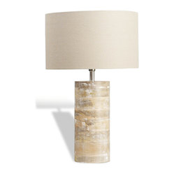 Interlude Home - Medowmack Wood Lamp - Find peaceful calm in your own home. With its whitewashed wood base and creamy linen shade, this lamp will impart a spirit of relaxation to your living room. Turn on the light and enjoy the serenity it brings.