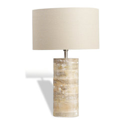 Interlude - Medowmack Wood Lamp - Find peaceful calm in your own home. With its whitewashed wood base and creamy linen shade, this lamp will impart a spirit of relaxation to your living room. Turn on the light and enjoy the serenity it brings.