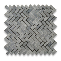 "Stone Center Corp - Carrara Marble Herringbone Mosaic Tile 5/8 x 1 1/4 Polished - Carrara white marble 5/8"" x 1 1/4"" pieces mounted on 12"" x 12"" sturdy mesh tile sheet"