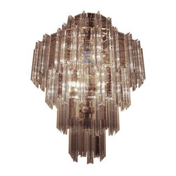 Used Mid-Century Glass and Lucite Chandelier - Gorgeous and grand in scale, this is a beautiful 1960s lucite acrylic prism and smoked glass panel chandelier. Fixture is large, with 5 tiers. The top and bottom tiers are narrower than the middle tiers which are graduated for a sophisticated look. The top tier consists of 11 smoked glass panels and 11 Venini style lucite prisms. The second tier has 44 total alternating pieces; third tier has 32 total alternating pieces; fourth tier has 22 total alternating pieces; bottom tier has has 12 total alternating pieces.     The smoked glass panels are unique and are lighter around the borders with dark interiors. They are mirrored in appearance. The frame is brass. Fixture has 18 lights. UL listed.