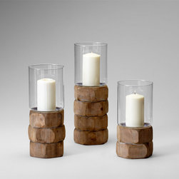 Cyan Design - Hex Nut Candleholder - Small - Small hex nut candleholder - natural wood