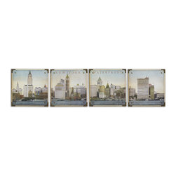 Uttermost - Waterfront New York Wall Art, Set of 4 - This set of frameless oil reproductions features a decoupage finish.