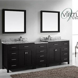 "Virtu USA - Virtu USA 93"" Caroline Parkway Double Bathroom Vanity with Italian Carrara White - Inspired by the Caroline, the Caroline Parkway vanity offers a clean sleek structure with abundant storage. The vanity is constructed from quality solid oak wood and finished in elegant white or espresso color. The Caroline Parkway also features an Italian Carrara white marble countertop and a matching backsplash. This vanity will be a great striking centerpiece to any bathroom design.Virtu USA has taken the initiative by changing the vanity industry and adding soft closing doors and drawers to their entire product line. By doing so, it will give their customers benefits ranging from safety, health, and the vanity's reliability.FeaturesMain Cabinet: 92.8"" W x 21.9"" D x 35"" HFramed Mirrors: 35.4""W x 34.6""H1 Inch Thick Italian Carrara White Marble CountertopEspresso Cabinet FinishWater Resistant Low V.O.C SealerZero Emissions Solid Oak WoodAdjustable Hinges and Slides4 Doors with Soft Closing Hinges12 Drawers with Soft Closing Slides2 Concealed Dividing Storage ShelvesDesigner Brushed Nickel Handles with Chrome AccentDesigner Brushed Nickel Door KnobsUndermount Basins with OverflowStandard 8-inch Widespread Pre-Drilled HolesMinimal Assembly RequiredFaucets Sold SeparatelyHow to handle your counterView Spec Sheet"