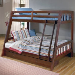 Rockdale Twin over Full Bunk Bed - Make room for sleepovers in style with the Rockdale Twin over Full Bunk Bed. This versatile set touts cool contemporary style perfect for any child's room. A rich classic cherry finish gives this piece a polished look and makes it ideal for blending with an array of different designs. The twin-over-full bed setup provides tons of space for sleepovers and is ideal for siblings sharing a room. Store and stash extra stuff in the included storage drawers for effortless organization. Perfect! Set measures 78.5L x 54W x 52.75H inches. We take your family's safety seriously. That's why all of our bunk beds come with a bunkie board slat pack or metal grid support system. These provide complete mattress support and secure the mattress within the bunk bed frame. Please note: Bunk beds and loft beds are only to be used by children 6 years of age or older. About Hillsdale FurnitureLocated in Louisville Ky. Hillsdale Furniture is a leader in top-quality affordable bedroom furniture. Since 1994 Hillsdale has combined the talents of nationally recognized designers and globally accredited factories to bring you furniture styling and design from around the globe. Hillsdale combines the best in finishes materials and designs to bring both beauty and value with every piece. The combination of top-quality metal wood stone and leather has given Hillsdale the reputation for leading-edge styling and concepts.