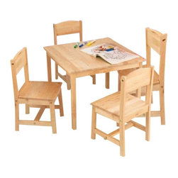 KidKraft - Farmhouse Table and 4 Chairs, Natural by Kidkraft - KidKraft�s Farmhouse Table and 4-Chair Set provides kids with a space perfect for playing board games, working on homework and much more.
