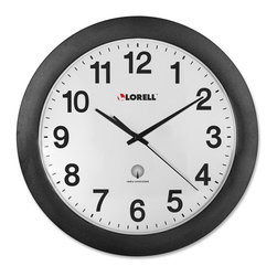 Lorell - Lorell Radio Controlled Wall Clock - Digital - Quartz - Atomic - Round wall clock is radio-controlled so the setting is modified each day to that of the atomic clock, accurate to one second per million years. The clock automatically adjusts to Daylight Saving Time and designed to work in the continental United States. Design also features an easy-to-read white dial, black Arabic numerals and ABS plastic cover. Clock runs on one AA battery (sold separately).